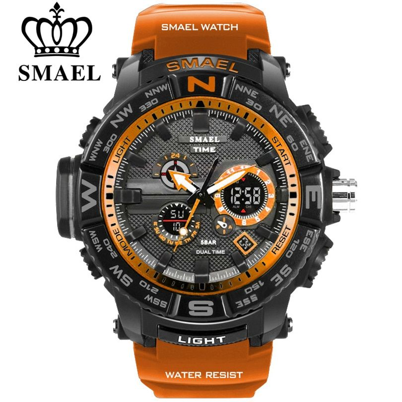 men sport watches SMAEL brand dual display watch men LED digital <font><b>analog</b></font> electronic quartz watches 30M waterproof male clock
