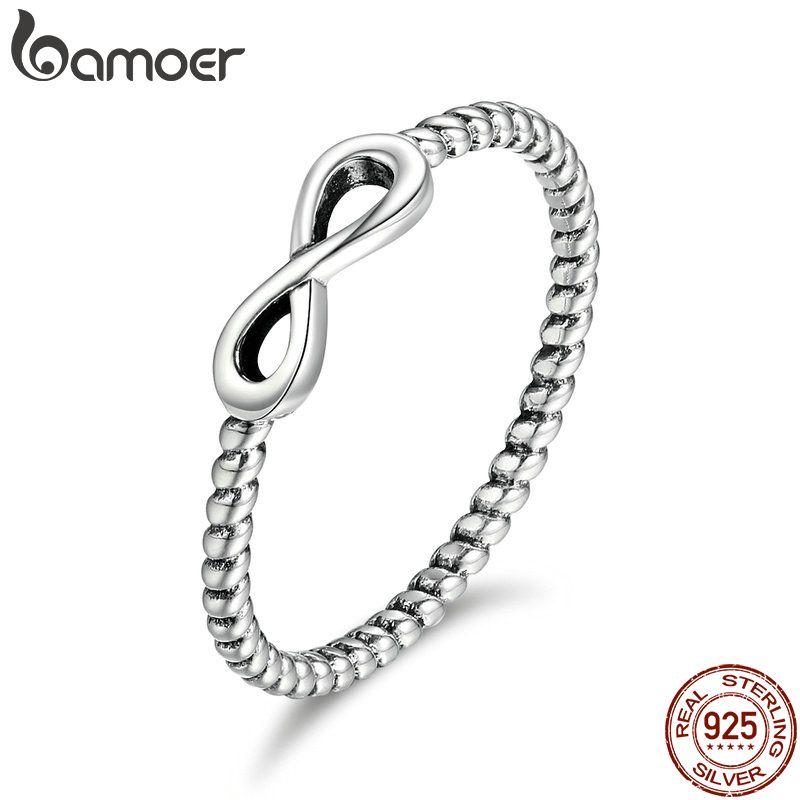 BAMOER Heißer Verkauf 100% 925 Sterling Silber Trendy Unendlichkeit Elegante Finger Ringe für Frauen Hochzeit Engagement Schmuck Geschenk SCR094