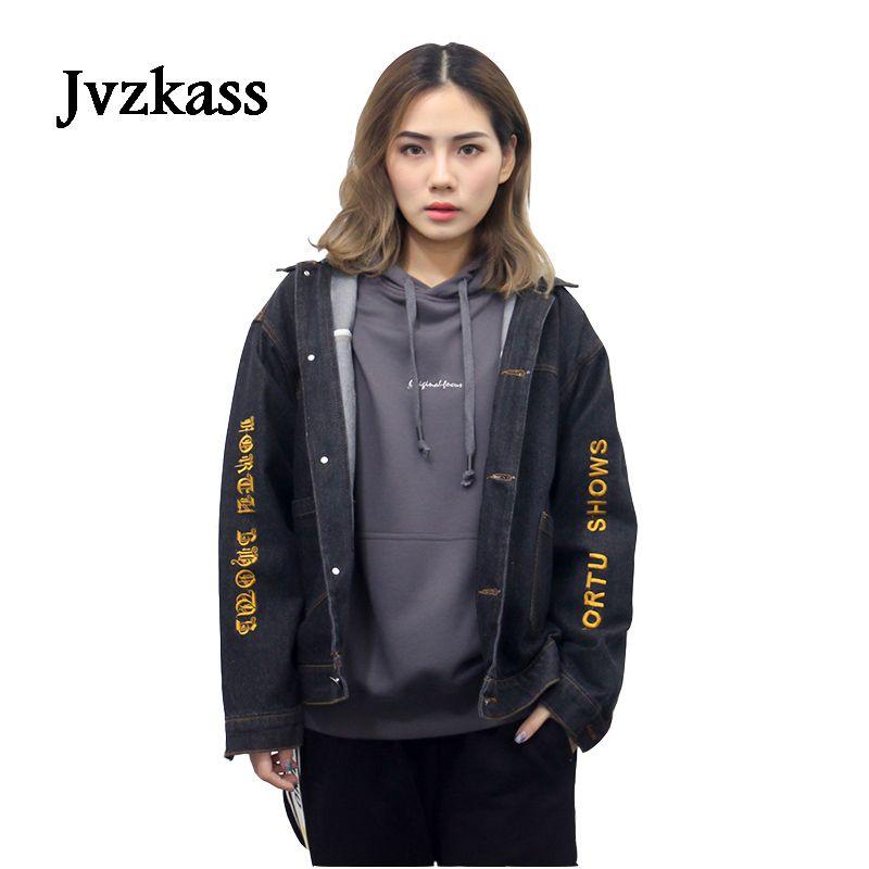 Jvzkass Black denim jacket female loose hooded students version of bf Harajuku spring and autumn flavor pilots jacket female Z3