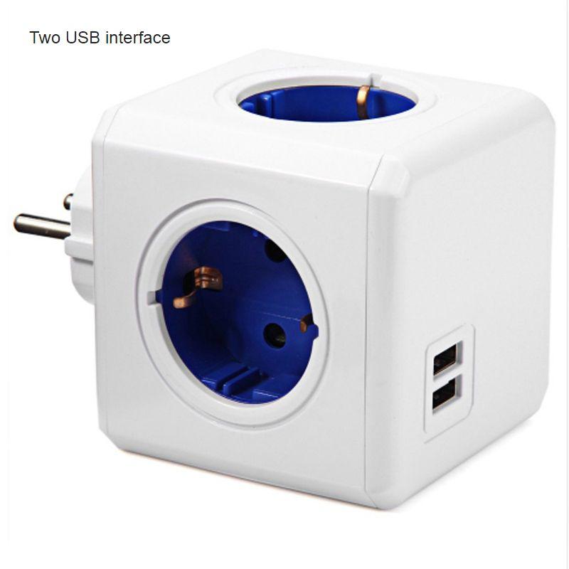 Smart Home prise de courant Cube prise EU 4 prises 2 Ports USB adaptateur multiprise adaptateur d'extension multiprise