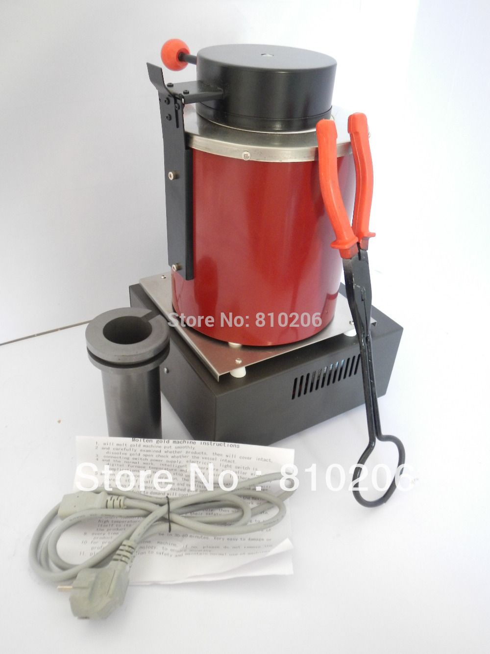 220 Voltage and 2KG Capacity Gold Electric Melting Furnaces with 1pc Graphite Crucible & Plier, melting furnace