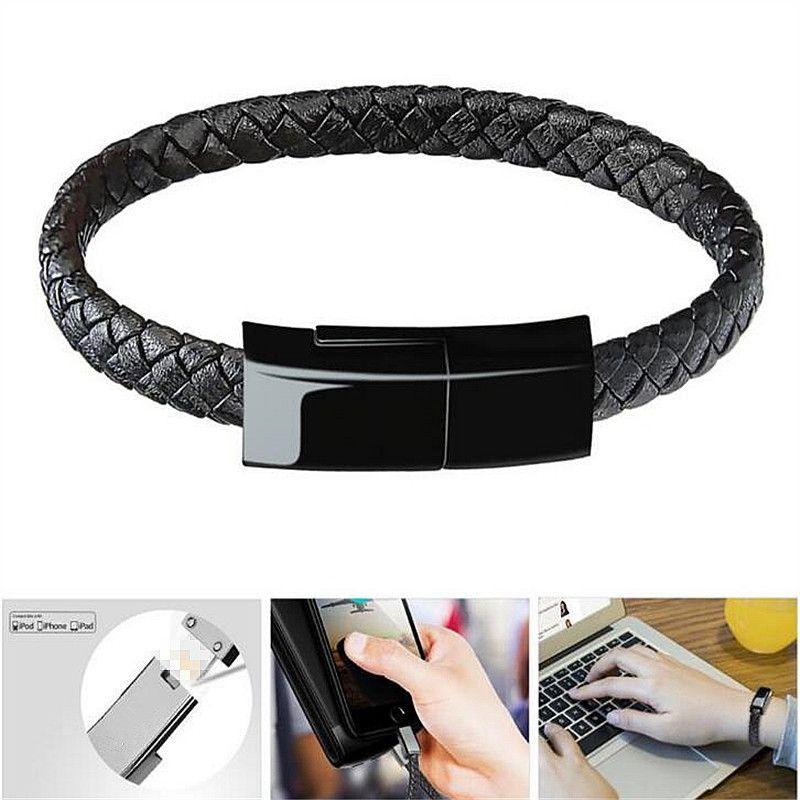 Hot Réel En Cuir Mini Micro USB Bracelet Chargeur Données Câble De Charge Sync Cordon Pour iPhone 6 6 s 7 Plus android Type-C Téléphone Câble