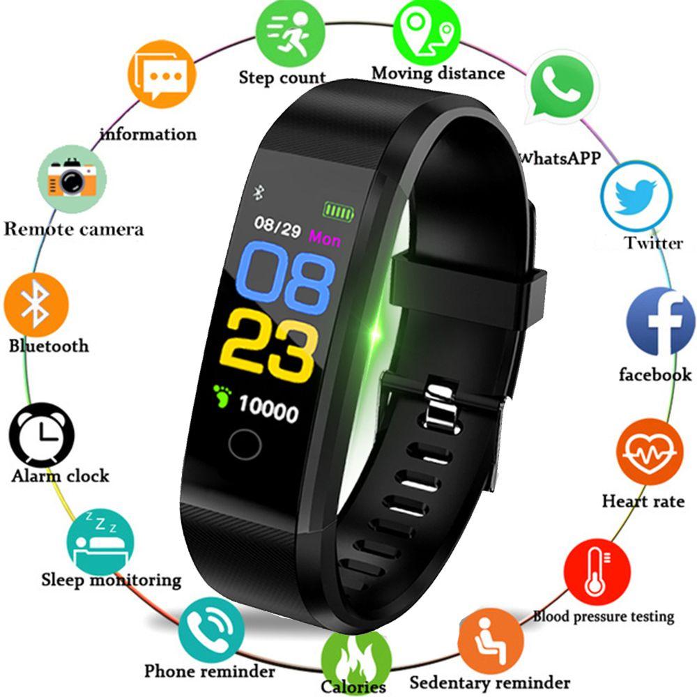 Bluetooth montre intelligente hommes femmes moniteur de fréquence cardiaque pression artérielle Fitness Bracelet Smartwatch Sport montre pour ios android + boîte