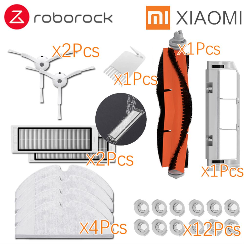 Suitable for Xiaomi Roborock Robot S50 S51 E35 Vacuum Cleaner Spare Parts Kits Mop Cloths Wet filter Side Brush Roll Brush