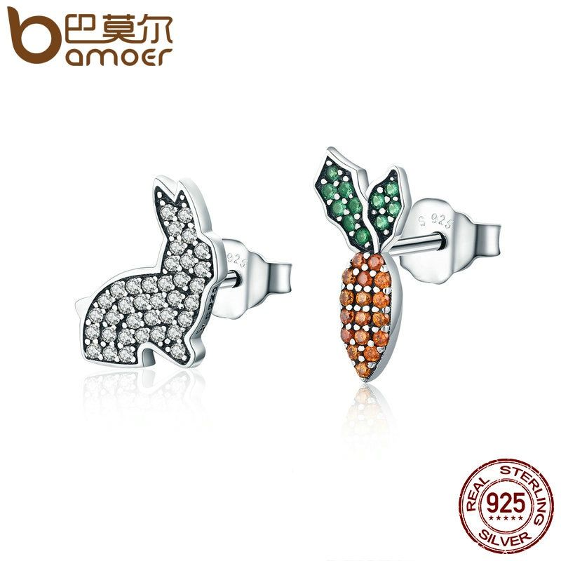 BAMOER Animal Collection 925 Sterling Silver Cute Rabbit & Carrot Clear CZ Stud Earrings for Women Fashion Silver Jewelry SCE249
