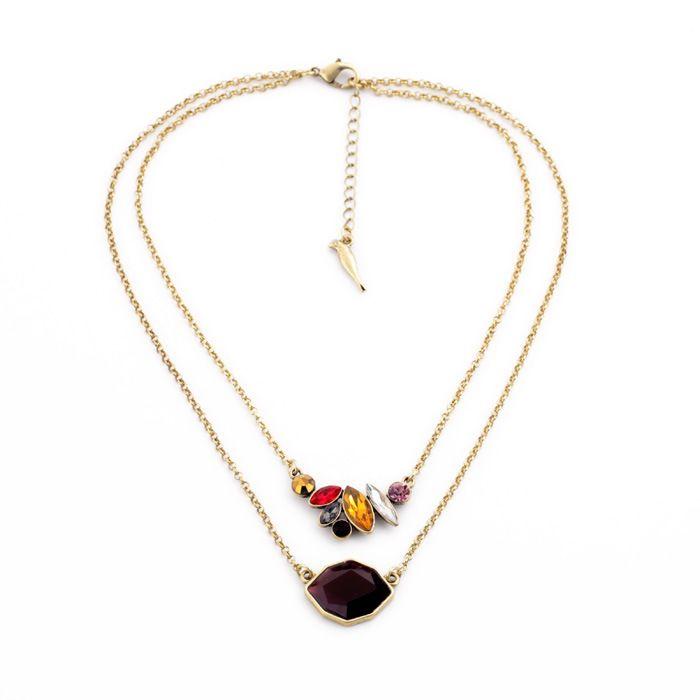 Femmes collier de mode Marque de bijoux De Luxe magnifique doux double chaîne avec pétales collier pendentif pour les femmes filles N1349