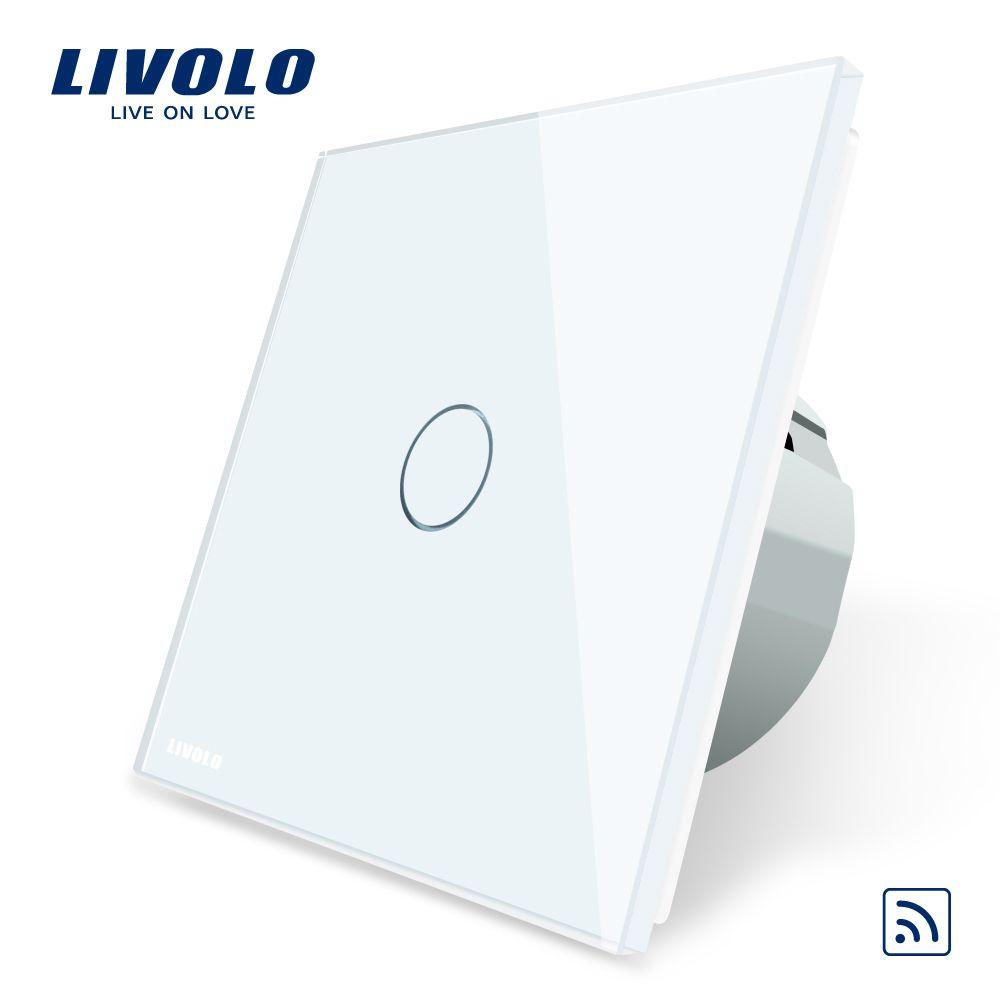 Livolo ЕС Стандартный настенный светильник Remote Touch Выключатель, 1 Gang 1way, Стекло Панель, AC 220 ~ 250 В, vl-c701r-1/2/3/5, без пульта дистанционного управления