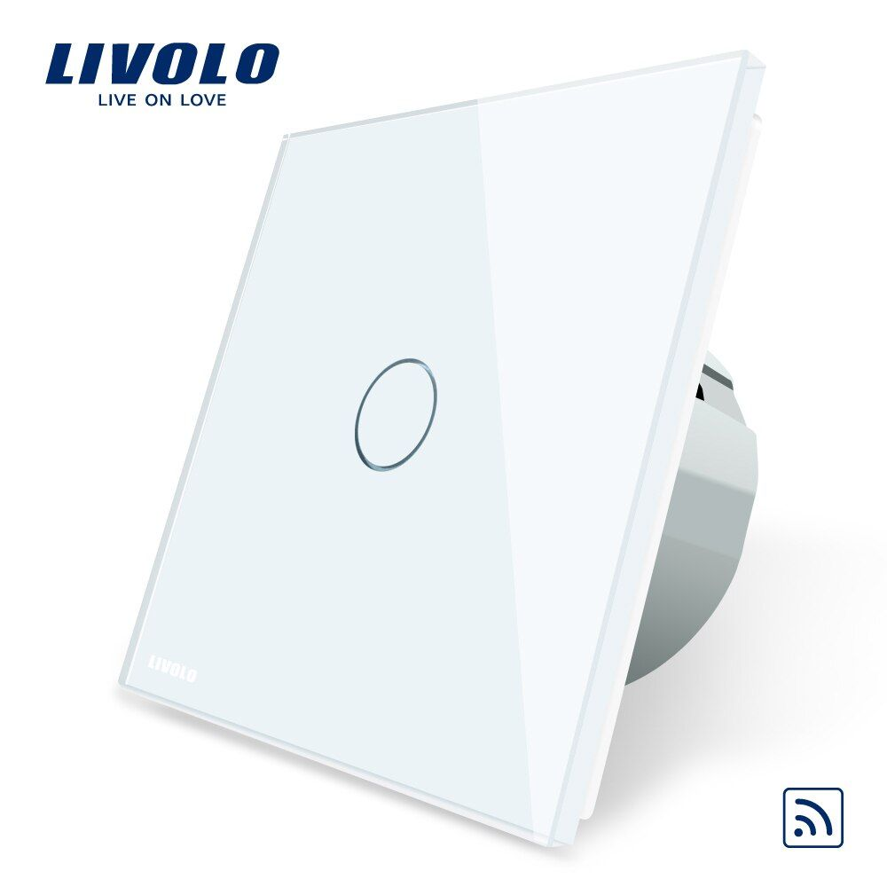 Livolo EU Standard Wall Light Remote Touch Switch,1gang 1way ,Glass Panel, AC 220~250V ,VL-C701R-1/2/3/5, No remote controller