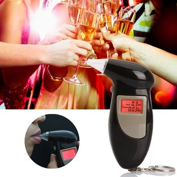 EPacket Бесплатная доставка, брелок Алкотестеры, спирта дыхания анализатор, цифровой алкотестер с 5 мундштук Прямая доставка