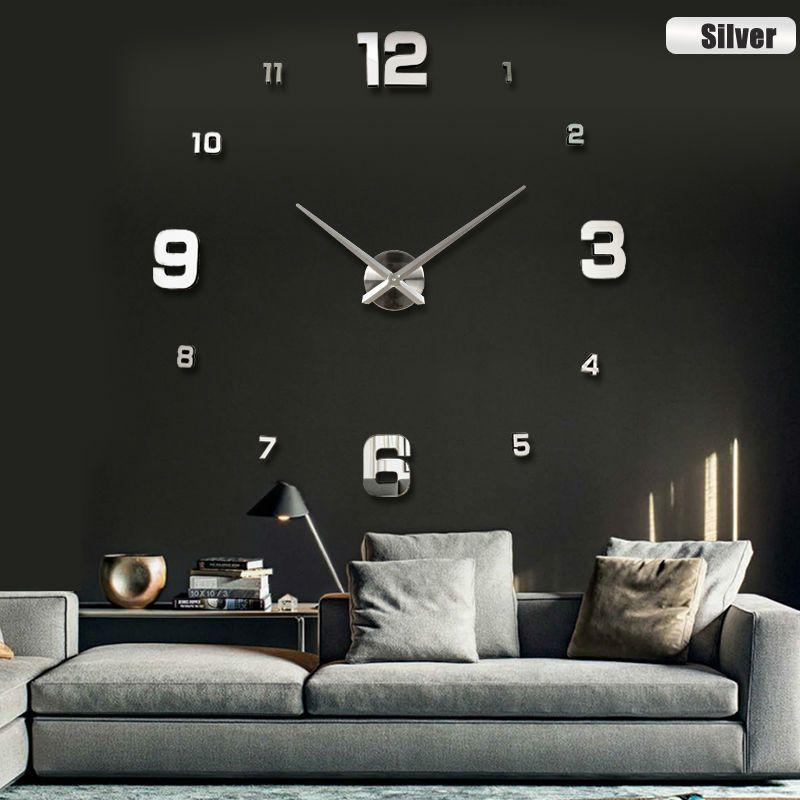 2017 nueva moda 3d tamaño grande reloj de pared espejo sticker pared de DIY relojes de pared decoración del hogar del reloj de pared sala de meetting reloj