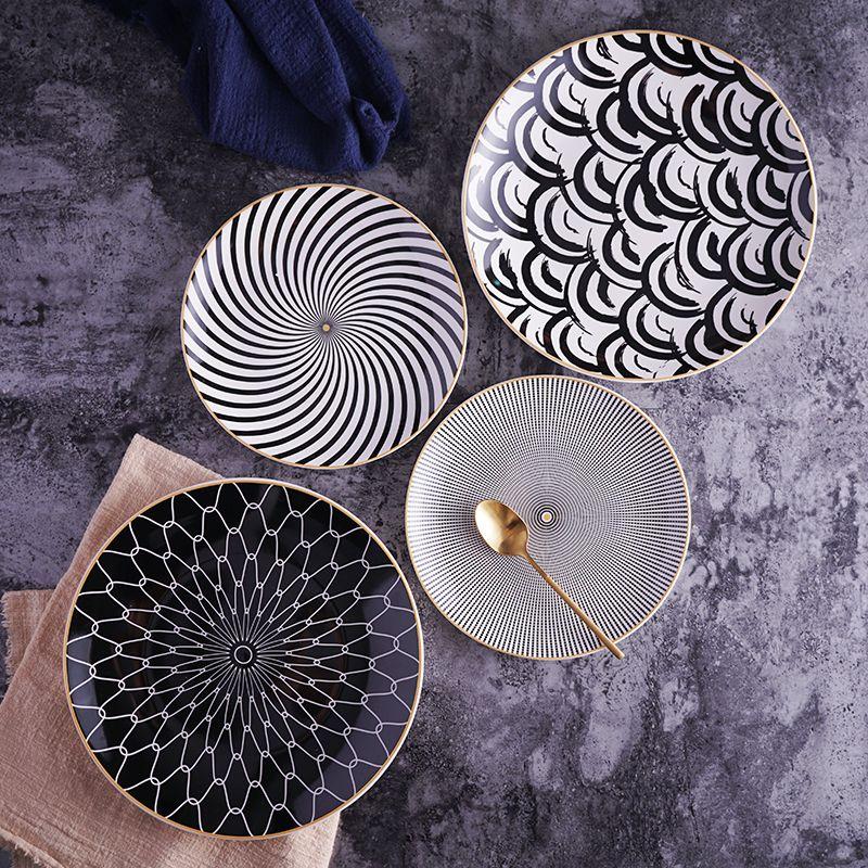 8 or 10 inch geometry tableware ceramic Dinner Plate dish porcelain dessert plate dinnerware cake plate