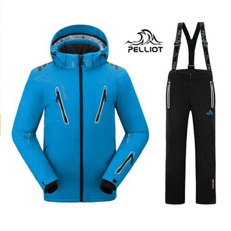 2018 Pelliot Male Ski Suits Jacket+Pants Men's Water-proof,Breathable TThermal Cottom-padded Snowboard Suit Men Ski Jacket