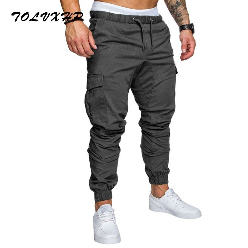 TOLVXHP 2018 Brand Men Pants Hip Hop Harem Joggers Pants 2018 Male Trousers Mens Joggers Solid Multi-pocket Pants Sweatpants 4XL
