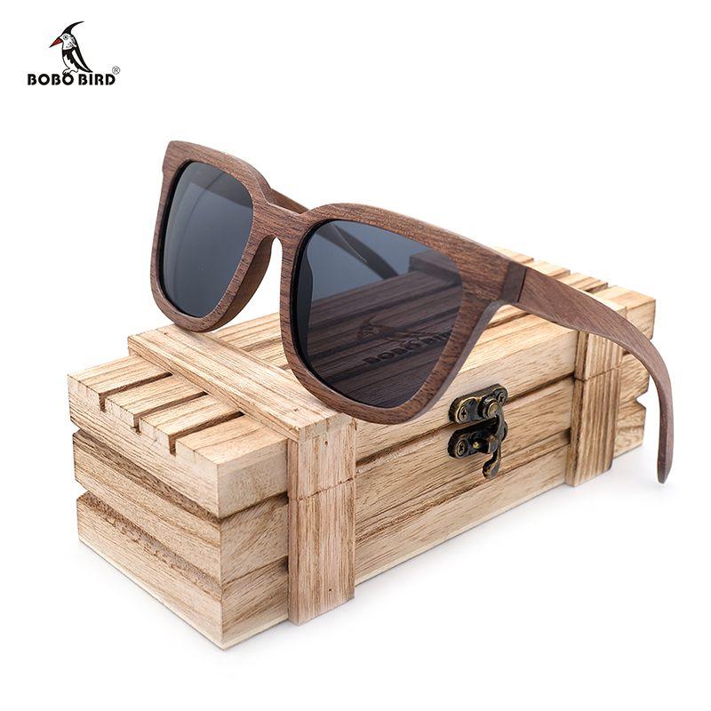 BOBO OISEAU Noir Noyer Bois Bambou lunettes de Soleil Polarisées Hommes Lunettes UV 400 Protection Lunettes en Boîte En Bois D'origine