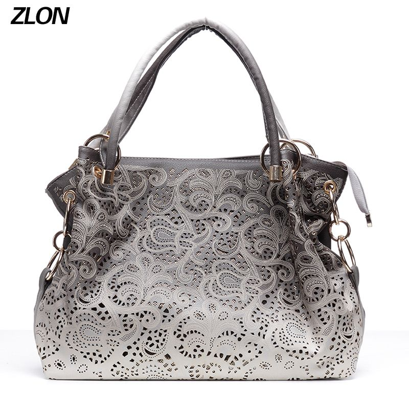 ZLON Fashion Women Bag Hollow Out Ombre Handbag Floral Print Shoulder Bags Ladies Leather Tote Bag Trend N115
