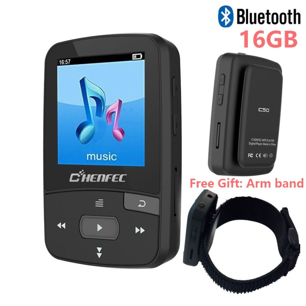 Original CHENFEC C50 Mini Sport Clip Bluetooth mp3 player music player Support TF Card, FM Radio, Recording, E-book, Pedometer