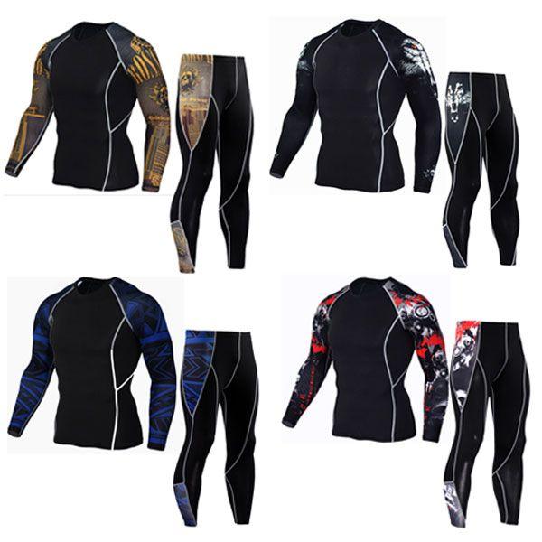 Новые мужские комплекты термобелья сжатия флис потовые быстрое высыхание термо белье Мужская одежда подштанники