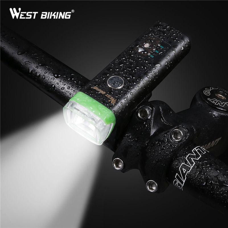 WEST BIKING Intelligent Bicycle Light <font><b>Sensor</b></font> Auto Lamp Waterproof USB Rechargeable Cycling Warning Flashlight 4 Modes Bike Light