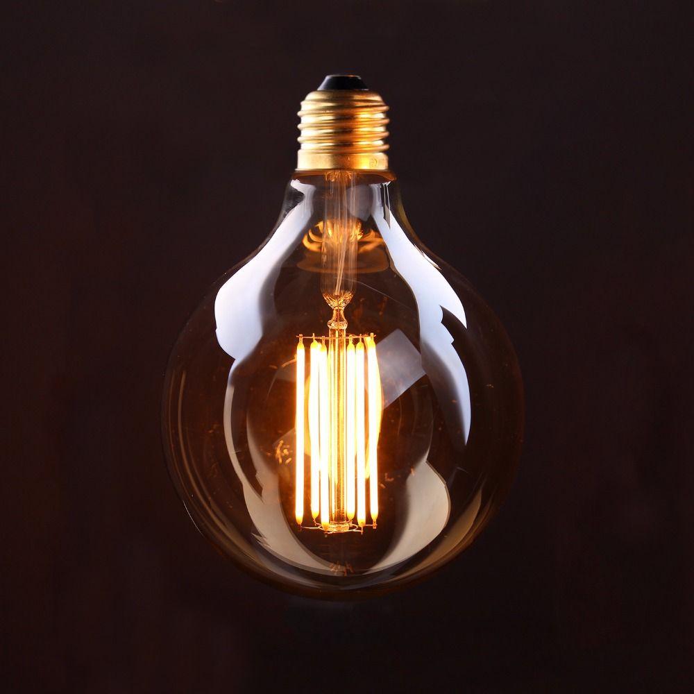 Ampoule à Long Filament Vintage LED, teinte or, Style Globe Edison G125, 4 W 6 W 2200 K, lampe décorative rétro, Dimmable
