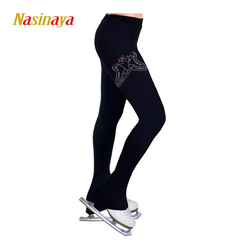 Customized Ice skating long pants Figure Skating custome fleece Trousers Adult Child Competition Performance skator Rhinestone
