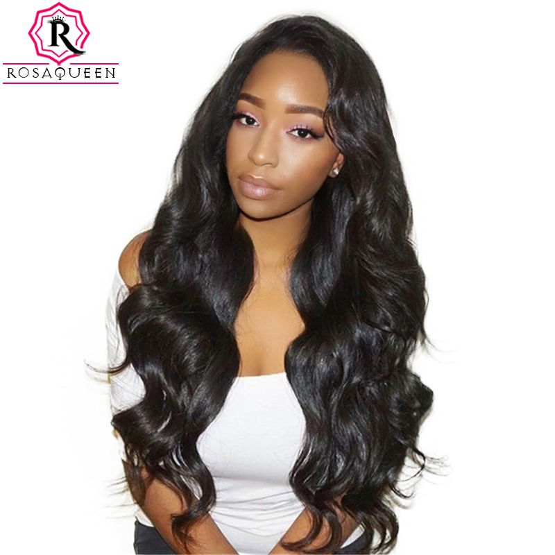 180% Density Full Lace Human Hair Wigs For Black Women Brazilian Body Wave Wig Pre Plucked Front With Baby Hair Rosa Queen Remy