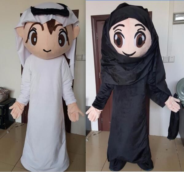 Arabic people Arab boy and girl mascot costume arabic male and female mascots for adult to wear