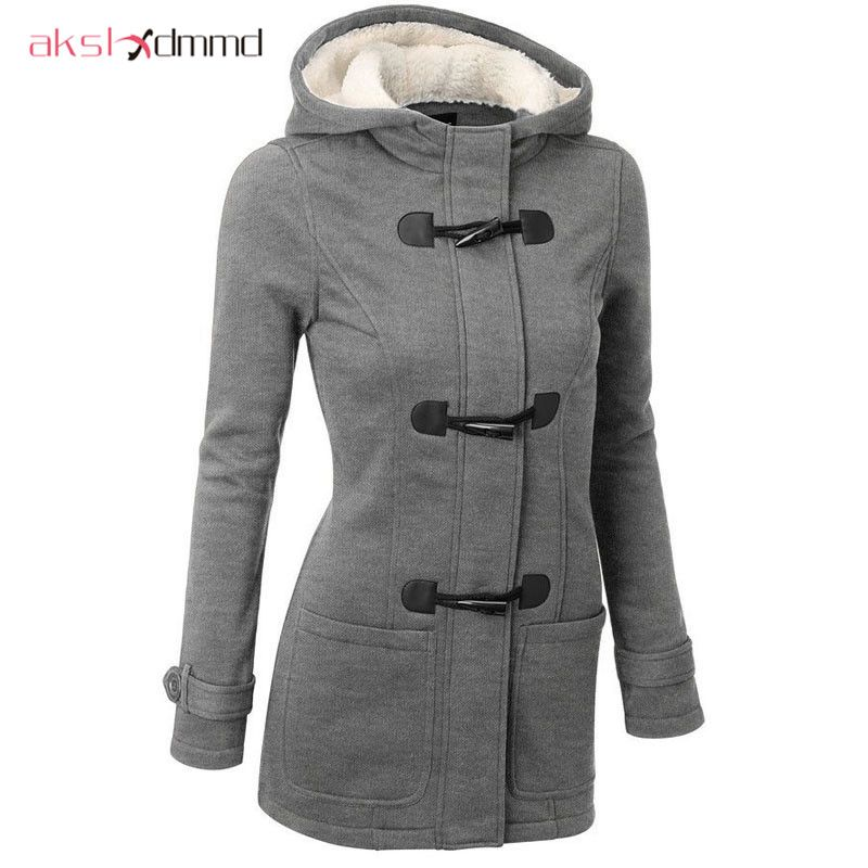 Women Causal Coat 2017 Autumn Witner Women's Overcoat Female Hooded Coat Zipper Horn Button Outwear Jacket Casaco Feminino LH624