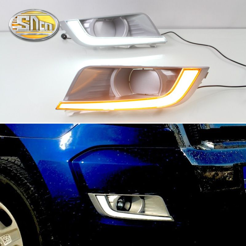 SNCN 2PCS LED Daytime Running Light For Ford Ranger 2015 2016 2017 2018 Turning Yellow Signal Relay Waterproof Car 12V LED DRL