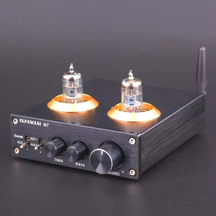 2018 Latest ZHILAI Bluetooth 4.0 HiFi Vacuum 6J1 Tube Amplifier Stereo Tube Preamplifier With Treble Bass Tone Control