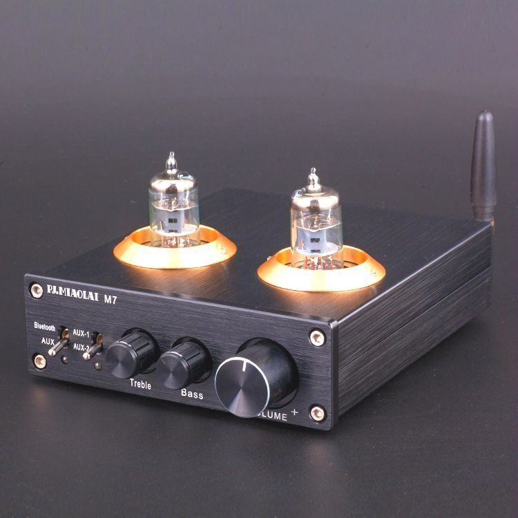 M7 Bluetooth 4.0 HiFi Vacuum 6J1 Tube Amplifier Stereo Tube Preamplifier With Treble Bass Tone Control