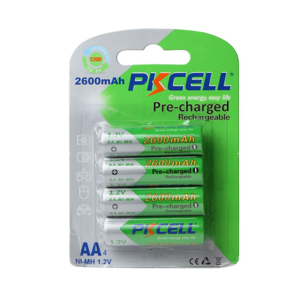 4pcs PKCELLV 1.2V AA 2600Mah Batteries NI-MH AA Rechargeable Battery Batteries 2A Bateria Baterias