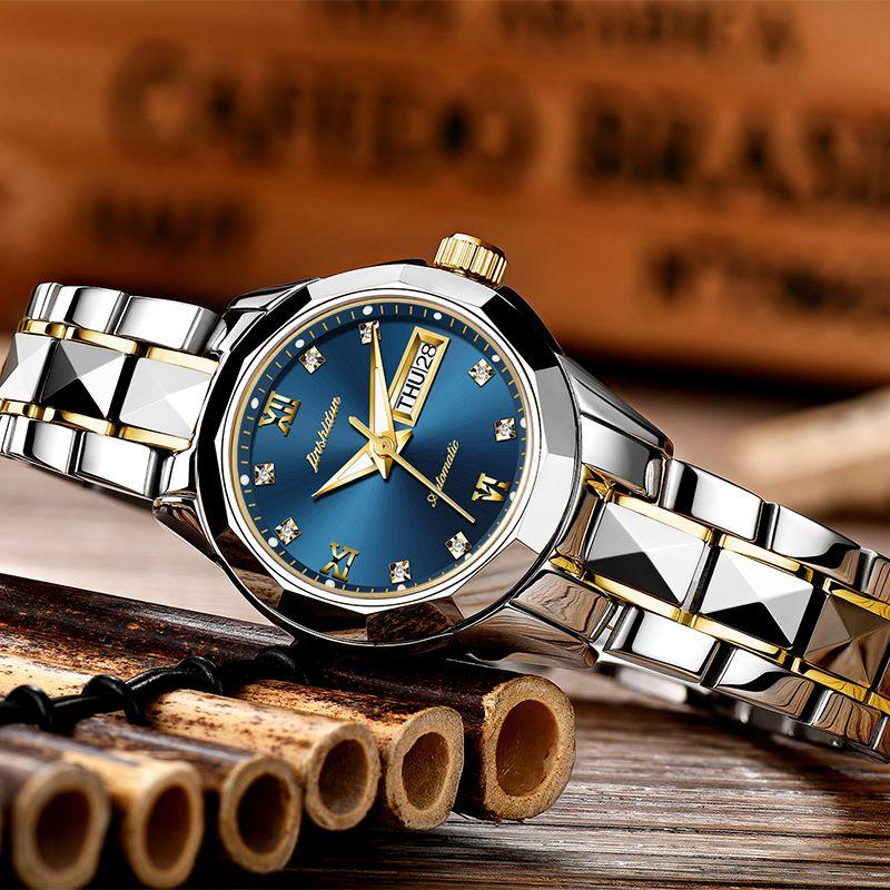 Ladies Watch JSDUN High Quality Fashion Mechanical Female Wrist Watch Stainless Steel Luxury Women Rose Gold Watch Men