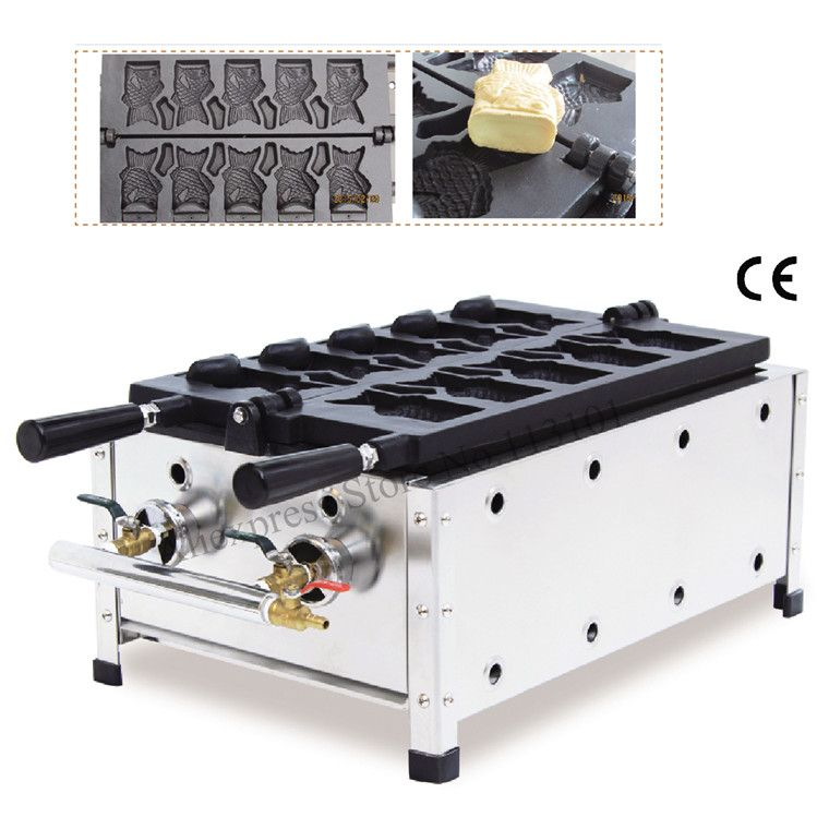 Ice Cream Cone Taiyaki Machine Gas Type 5 Moulds Open-mounth Fish Waffle Taiyaki Machine Street Snack Machine