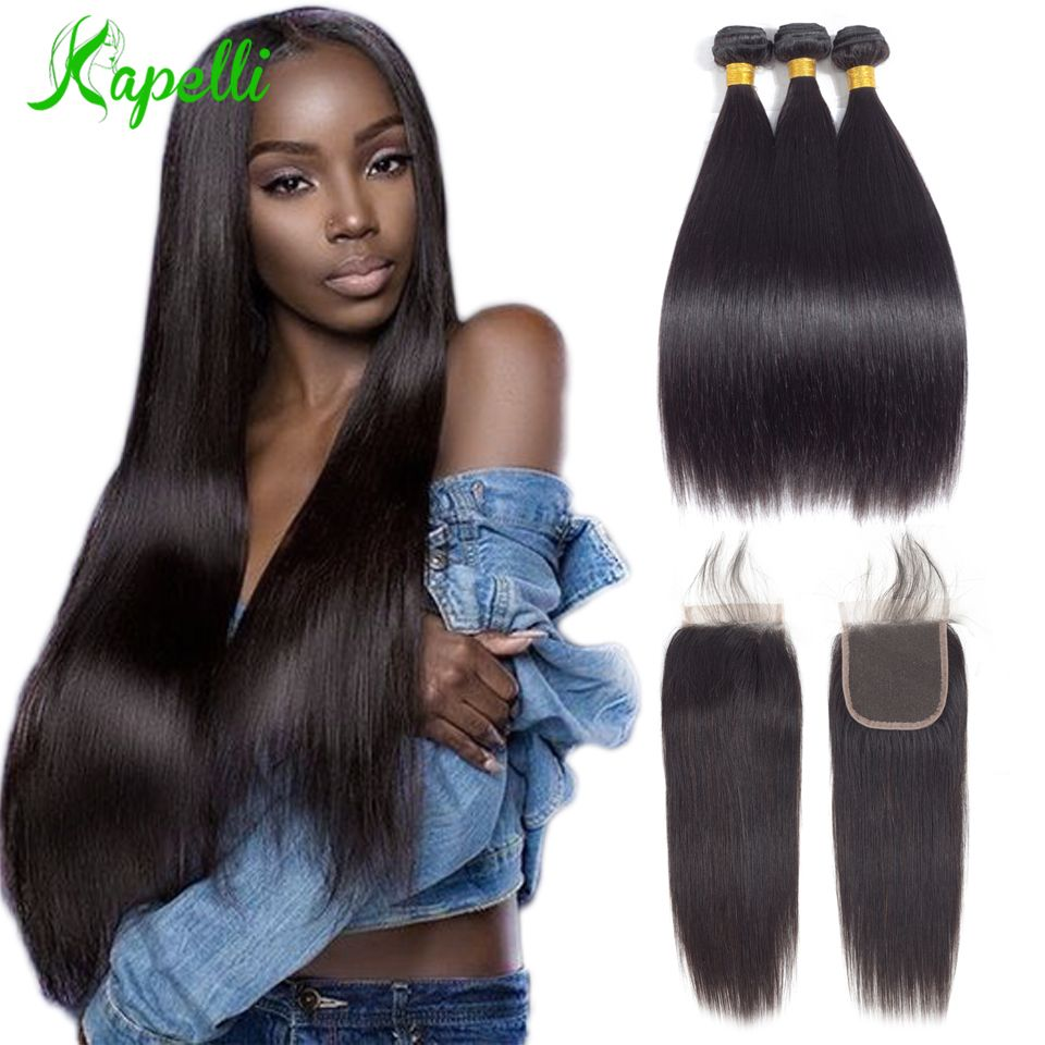 Brazilian Straight Hair Bundles With Closure 3Bundle With Closure Remy Hair Bundles With Closure Human Hair Bundles With Closure