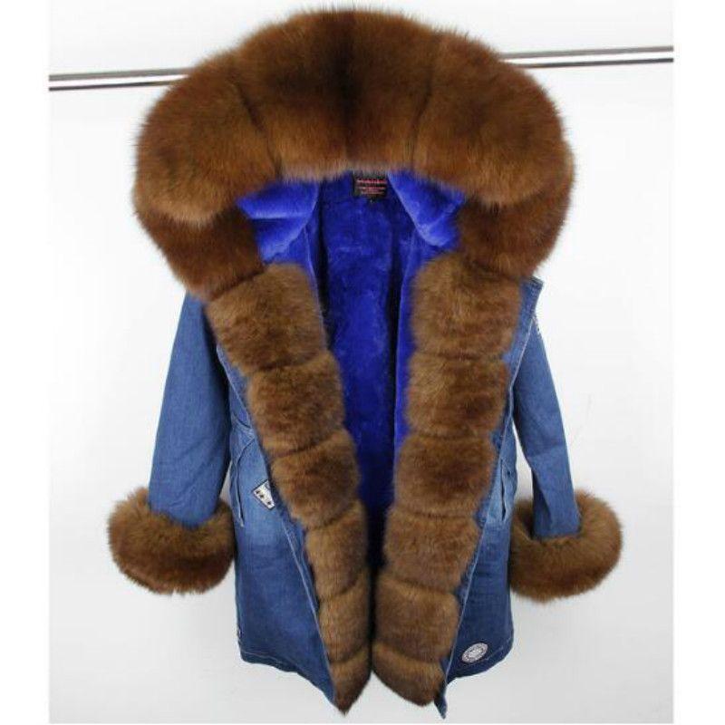 MaoMaoKong 2018 neue lange mode denim winter jacke frauen natürliche echt fox pelz mantel mit kapuze faux pelz Liner warme dicke parkas