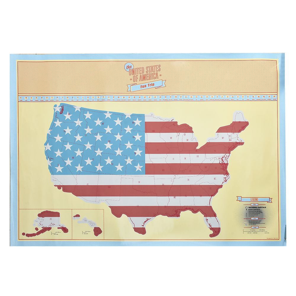 American Scratch Map US Version travel Poster Map Home Wall Sticker Maps