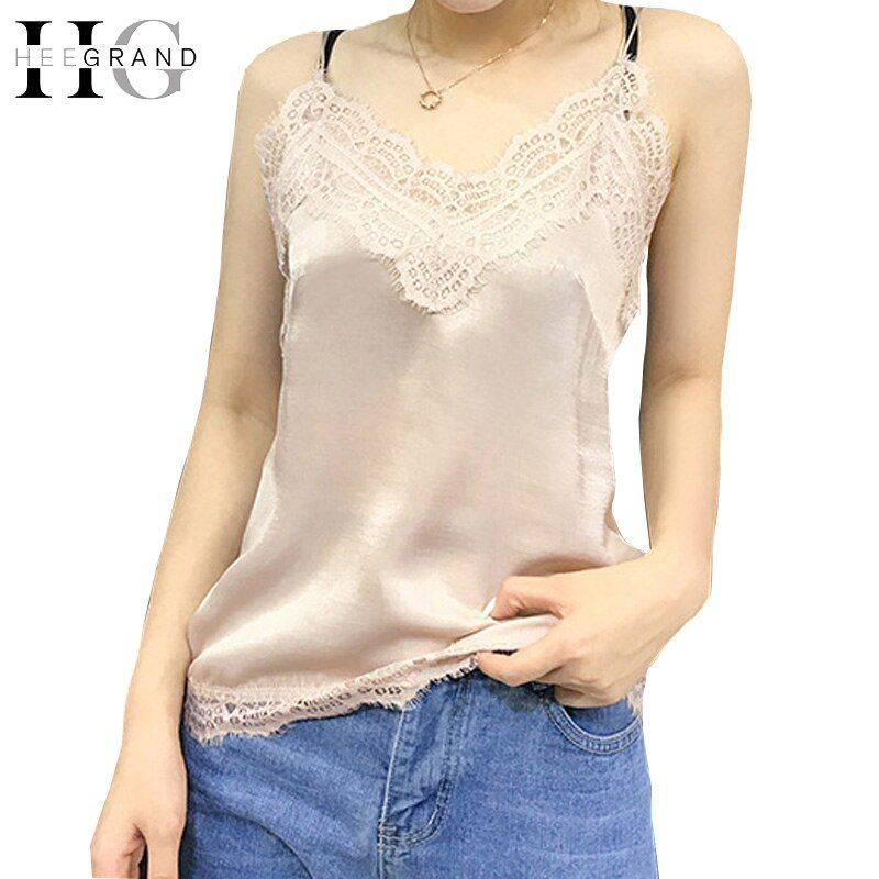 HEE GRAND Women Sexy Spaghetti Strap Camis Deep V Neck Sleeveless Summer Satin Cami Tops Female Lace Patchwork Tank Top WBS293