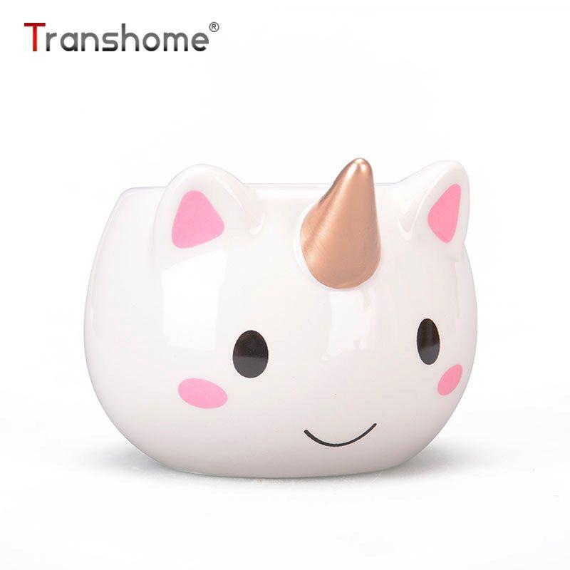 Transhome Licorne Tasse 300 ml Arc-En-Cheval Licorne verres Gentillesse 3D Licorne tasse à café en céramique Or Stéréo Mignon Licorne Tasses