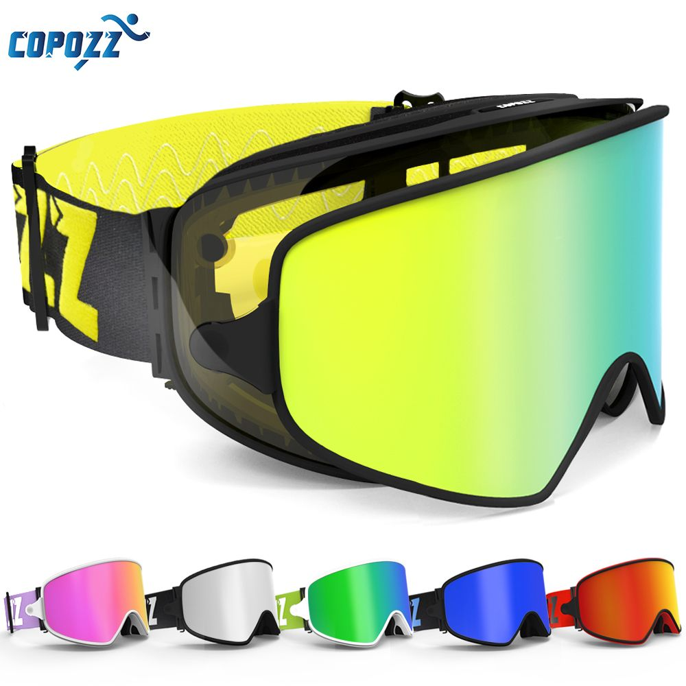 COPOZZ Gafas de Esquí 2 en 1 con Lente Magnética de Doble uso para La Noche de Esquí Anti-vaho gafas de Snowboard Gafas de Esquí Hombres Mujeres UV400 gafas