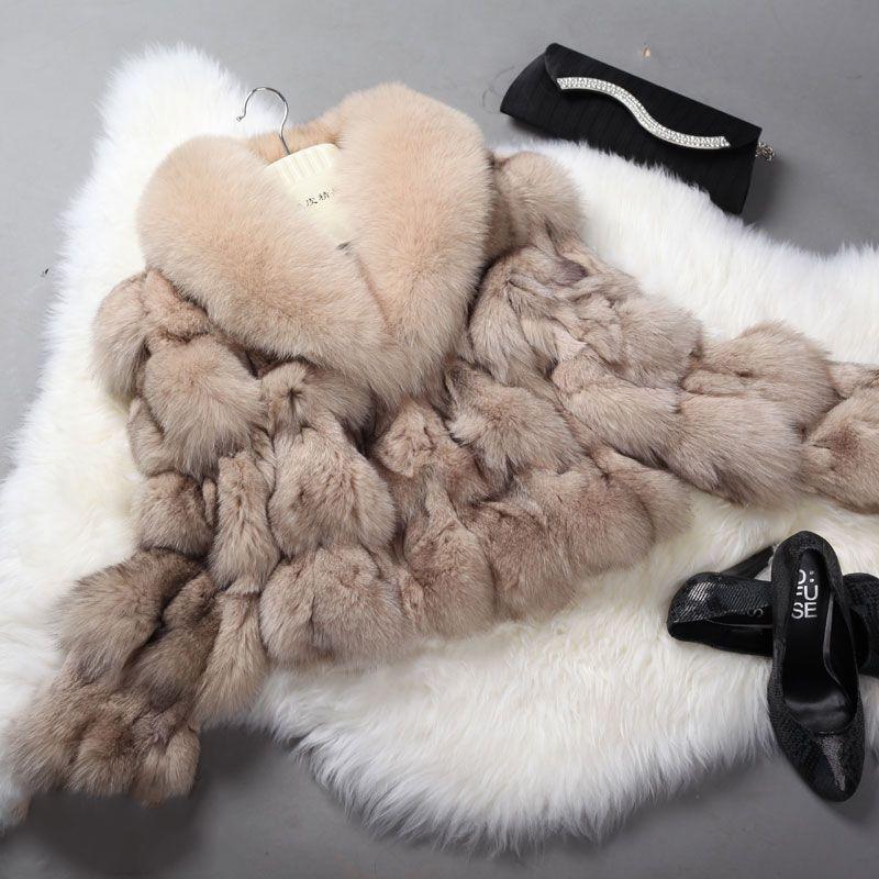 Echten Pelzmantel für Frauen Fuchspelz Mantel Gestreiften Großen Fuchskragen Pelz Jacke rf0046