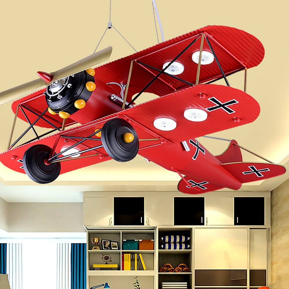 Children 's luminarias Iron Airplane Room Led pendant lights Bedroom Creative Personality Cartoon pendant light Led pendant lamp