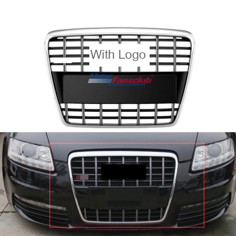 Car Racing Grille For Audi A6 C6 Grill A6 Quattro S6 2005-2011 Emblems Sliver Radiator Chrome Black Front Bumper Modify Mesh
