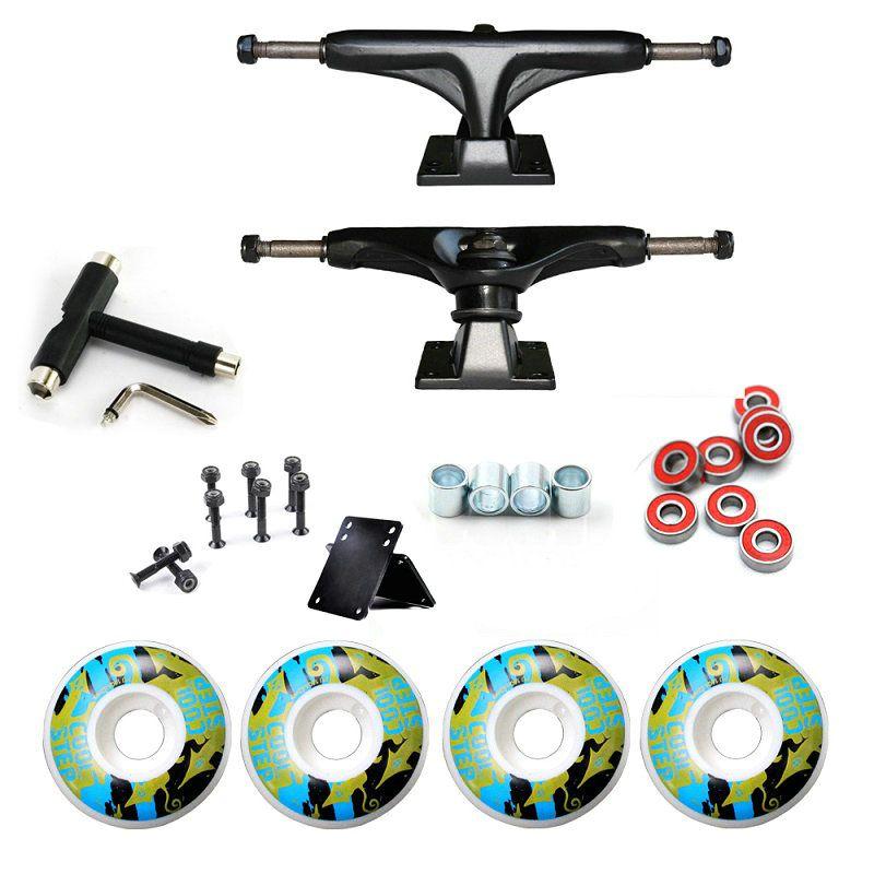 52mm*30mm Skateboard Wheels And 5inch Skateboard Truck Bearings Hard Wares Rubber Gasket Riserpad 100A Printing PU Wheels