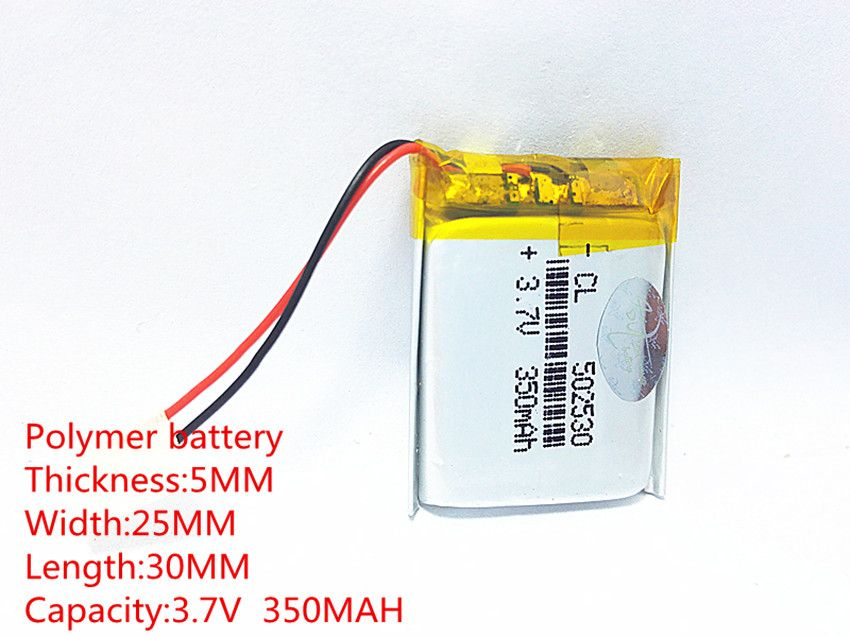 (free shipping) 3.7V 502530 350 mah lithium-ion polymer battery quality goods quality of CE FCC ROHS certification authority