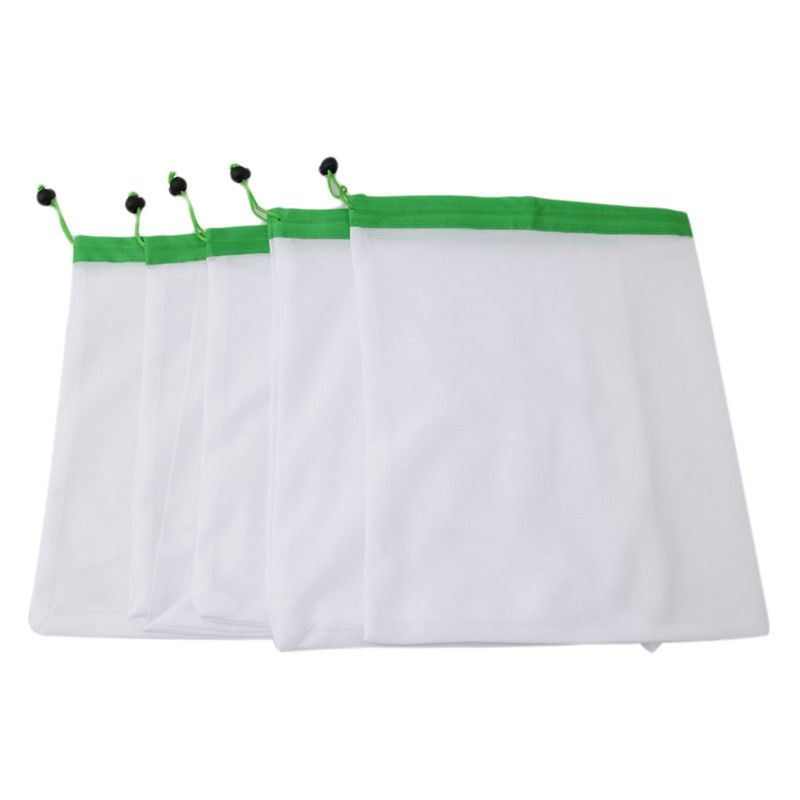 5pcs Reusable Mesh Storage Bag For Grocery Shopping Fruit Vegetable Toys Storage Mesh Produce Bag 3 colors