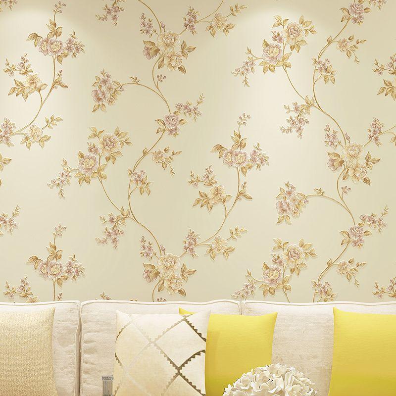 Beibehang Pastoral no tejido del papel pintado papel de parede grandes flores tridimensionales simple salón dormitorio telón de fondo lleno