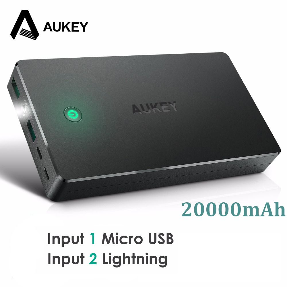 AUKEY 20000mah Power Bank Dual USB Portable Charger External Battery Mobile Phone Powerbank for Xiaomi iPhone Samsung Huawei etc