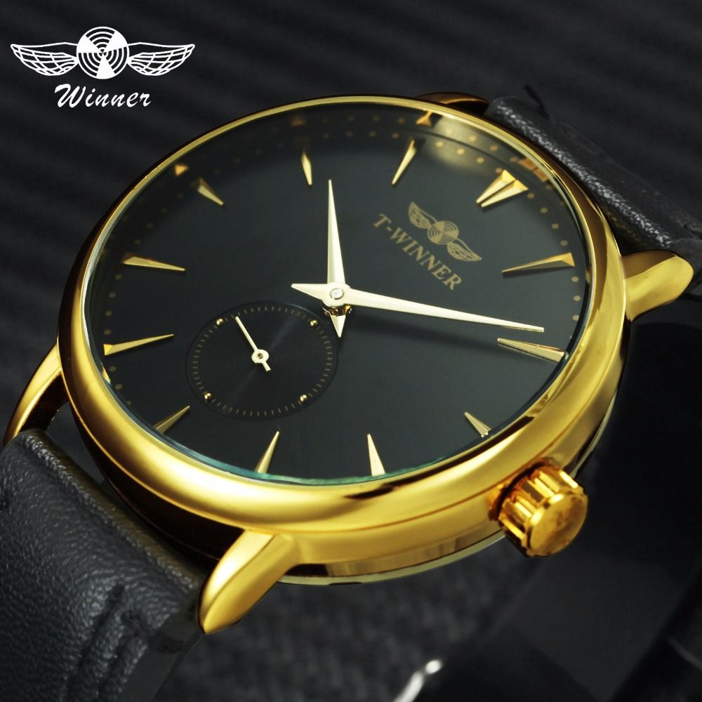 WINNER Fashion Casual Mechanical Watch Men Leather Strap Ultra Thin Dial Concise Golden Mens Watches Top Brand Luxury Clock 2019