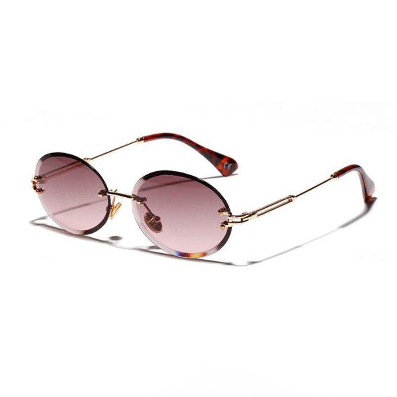 Lunettes de soleil rétro ovales femmes sans cadre gris marron clair lentille sans monture lunettes de soleil pour femmes uv400