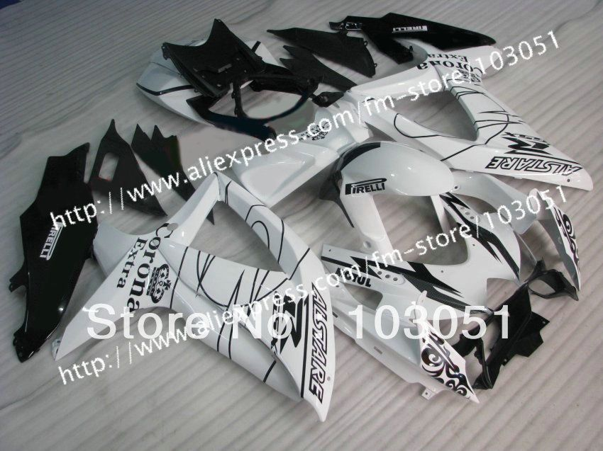 high grade for 2008 SUZUKI GSXR 750 fairings 2009 2010 GSXR 600 fairing K8 08 09 10 glossy white black Corona su61